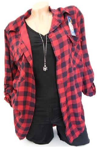 damen karo hemd bluse shirt kariert tartan holzf ller flanell blogger trend. Black Bedroom Furniture Sets. Home Design Ideas