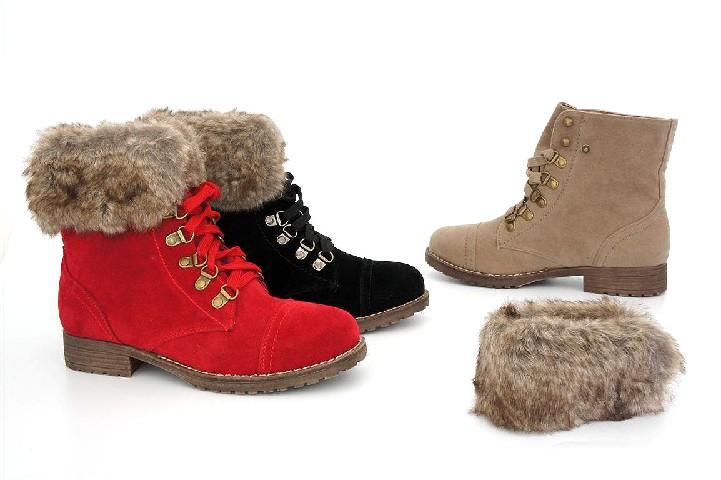 damen trachten stiefel fell stiefelette lace up boots schuhe lederhose dirndl ebay. Black Bedroom Furniture Sets. Home Design Ideas