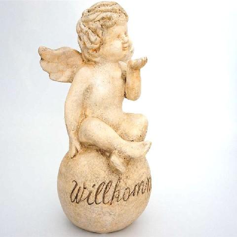deko engel keramik figur auf kugel willkommen 29cm haust r garten deko geschenk ebay. Black Bedroom Furniture Sets. Home Design Ideas